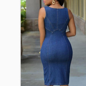 Women's Summer Sleeveless Denim Dress - fashionenvy