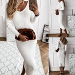 Load image into Gallery viewer, Women's Long Sleeve V-Neck Ribbed Maxi Dress - fashionenvy