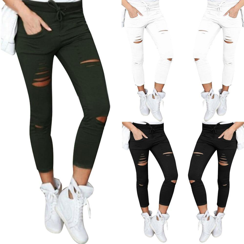 Ankle-Length Skinny Ripped Pants - fashionenvy