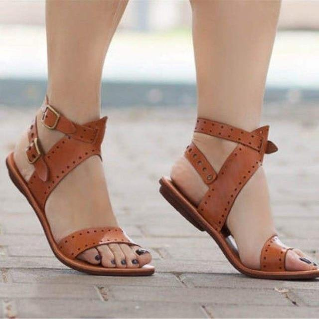 Casual Flat Leather Sandals - fashionenvy