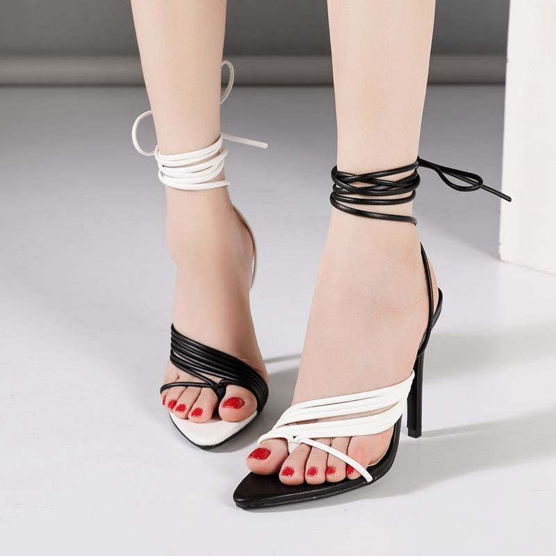 Lace Up Black And White Pointed Toe High Heels
