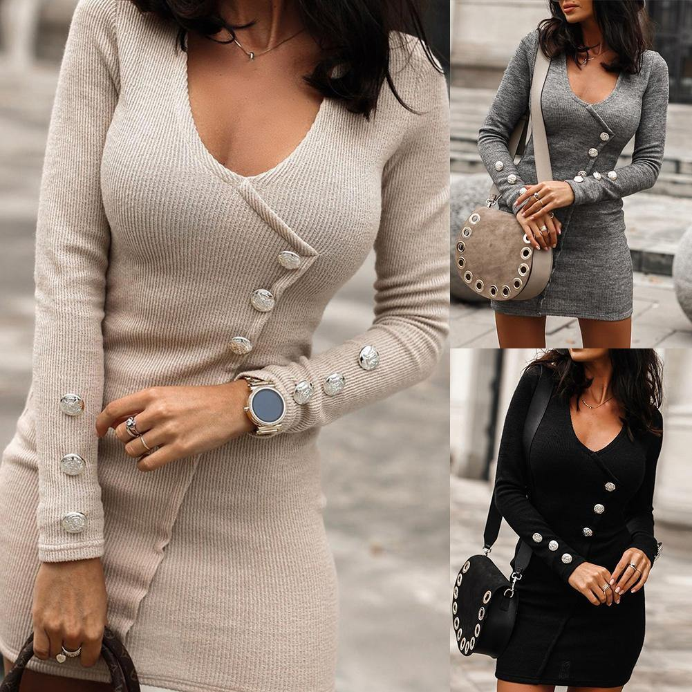 "The ""Off The Cuff"" Long Sleeve Knitted Dress - fashionenvy"
