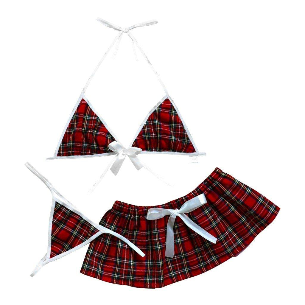 3PC Sexy Plaid Underwear Set - fashionenvy