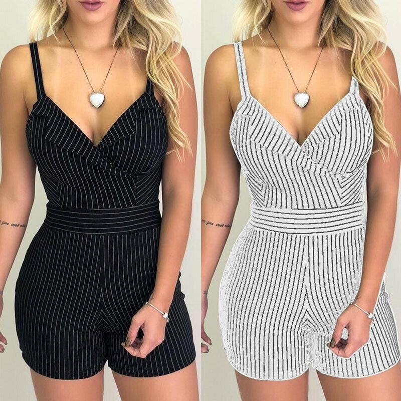 Women's Vintage Striped Romper - fashionenvy