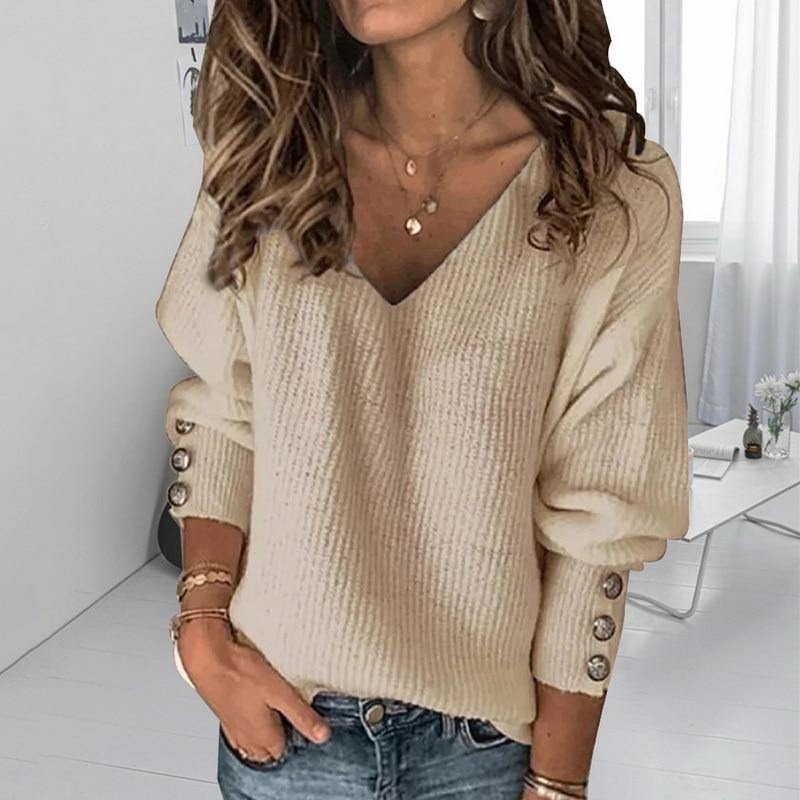 """Just Chilling"" Solid Long Sleeve Pullover Sweater - fashionenvy"