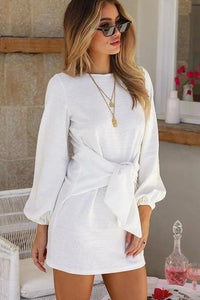 Women's Long Sleeve Chiffon Dress - fashionenvy