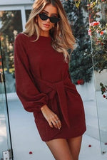 Load image into Gallery viewer, Women's Long Sleeve Chiffon Dress - fashionenvy