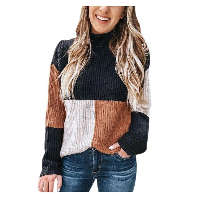 Long Sleeve Tri-Color Knitted Sweater - fashionenvy