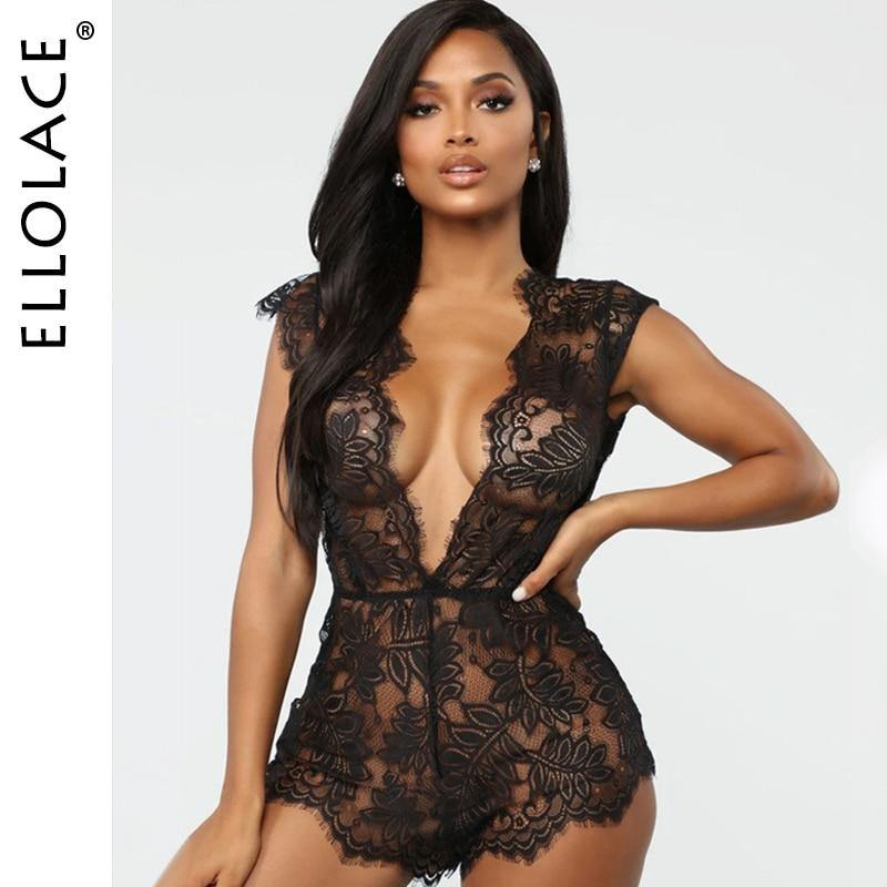 Women's Sexy Deep V-Neck See Thru Lace Bodysuit - fashionenvy