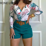 Load image into Gallery viewer, Women's Long Sleeve Flower Print 2 Piece Set - fashionenvy