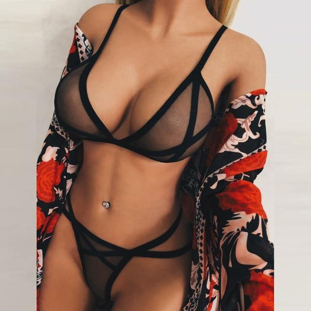 2 Piece Transparent Sexy Lingerie Set - fashionenvy