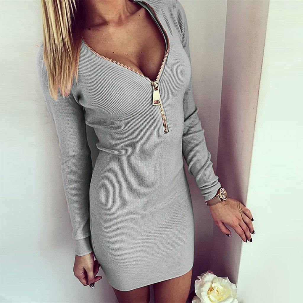 Women's Long Sleeve Zipper V-Neck Dress - fashionenvy