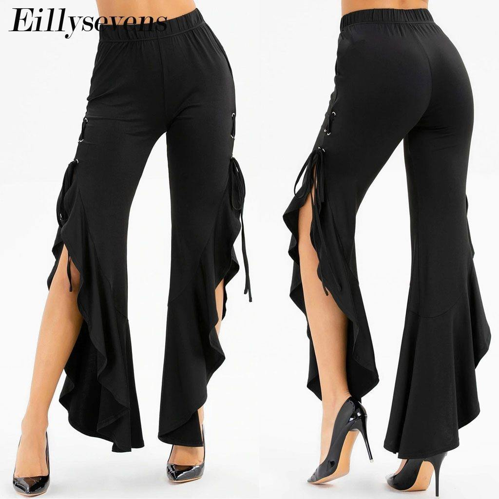 Women's Fashion Flared High Waist Pants - fashionenvy
