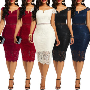 Women's Sexy Lace Off Shoulder V Neck Mid Dress - fashionenvy