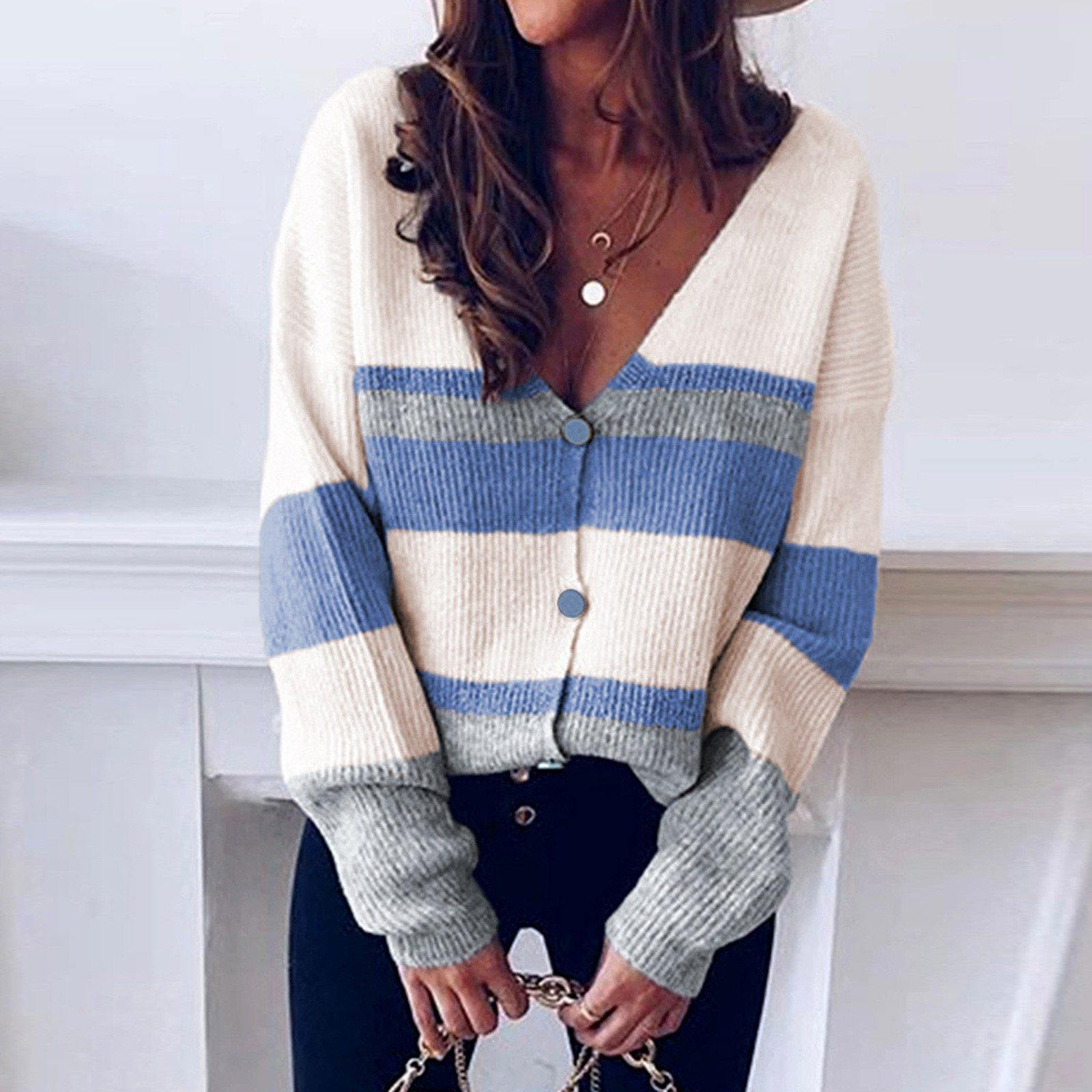 Knitted V-neck Pullover Striped Sweater - fashionenvy