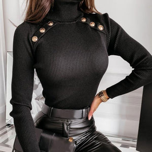 """Sophisticated"" High Collar Long Sleeve Button Decor Sweater - fashionenvy"