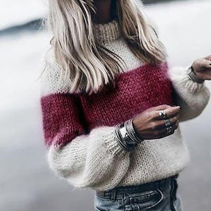 Women's Casual O Neck Loose Knitted Sweater - fashionenvy