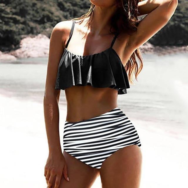 2 Piece High Waist Striped Retro Bathing Suit - fashionenvy