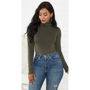 Women's Long Sleeve Turtleneck Bodysuit - fashionenvy