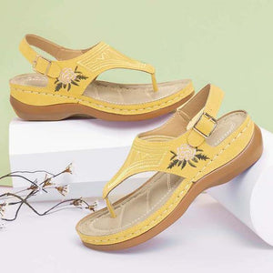 Women's Embroidered Toe Wedge Sandals - fashionenvy