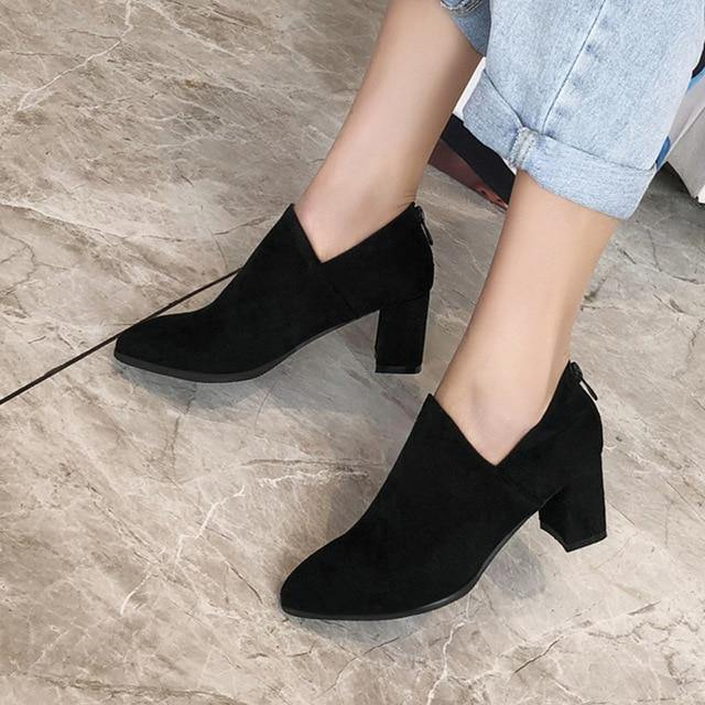 Fashion Suede Ankle Boots - fashionenvy
