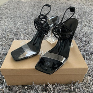 Open Toe Cross Strap High Hells - fashionenvy