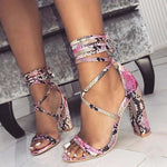 Load image into Gallery viewer, Fashion Snake Skin Ankle Strap High Heels - fashionenvy