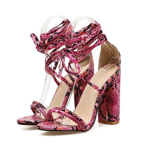 Fashion Snake Skin Ankle Strap High Heels - fashionenvy