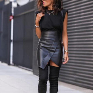 High Waist P U Leather Wrap Skirt - fashionenvy