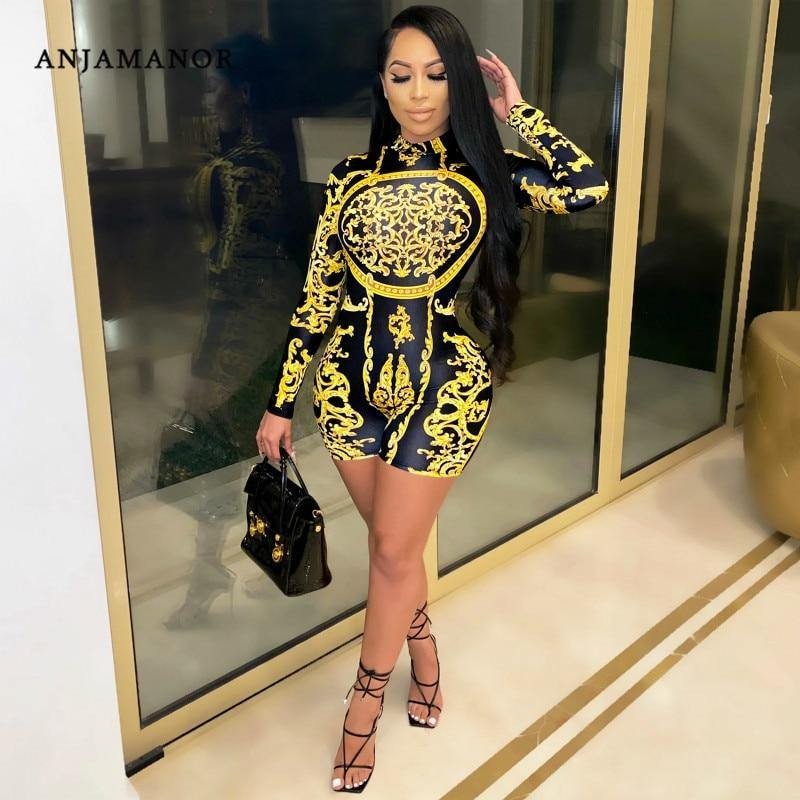 Women's Long Sleeve Fashion Print Romper - fashionenvy