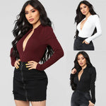 Load image into Gallery viewer, Women's Sexy Long Sleeve Deep V-Neck Bodysuit - fashionenvy
