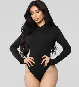 Women's Sexy Long Sleeve Deep V-Neck Bodysuit - fashionenvy