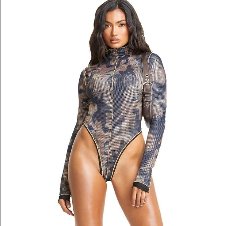 Women's Sexy Long-Sleeve Fashion Print Bodysuit - fashionenvy