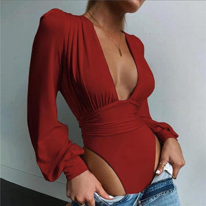 Ladies Long Sleeve Sexy Deep V-neck Bodysuit - fashionenvy