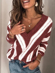 """Tasteful"" Long Sleeve V-Neck Pullover Sweater - fashionenvy"
