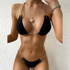2 Piece Chain Style Bathing Suit - fashionenvy