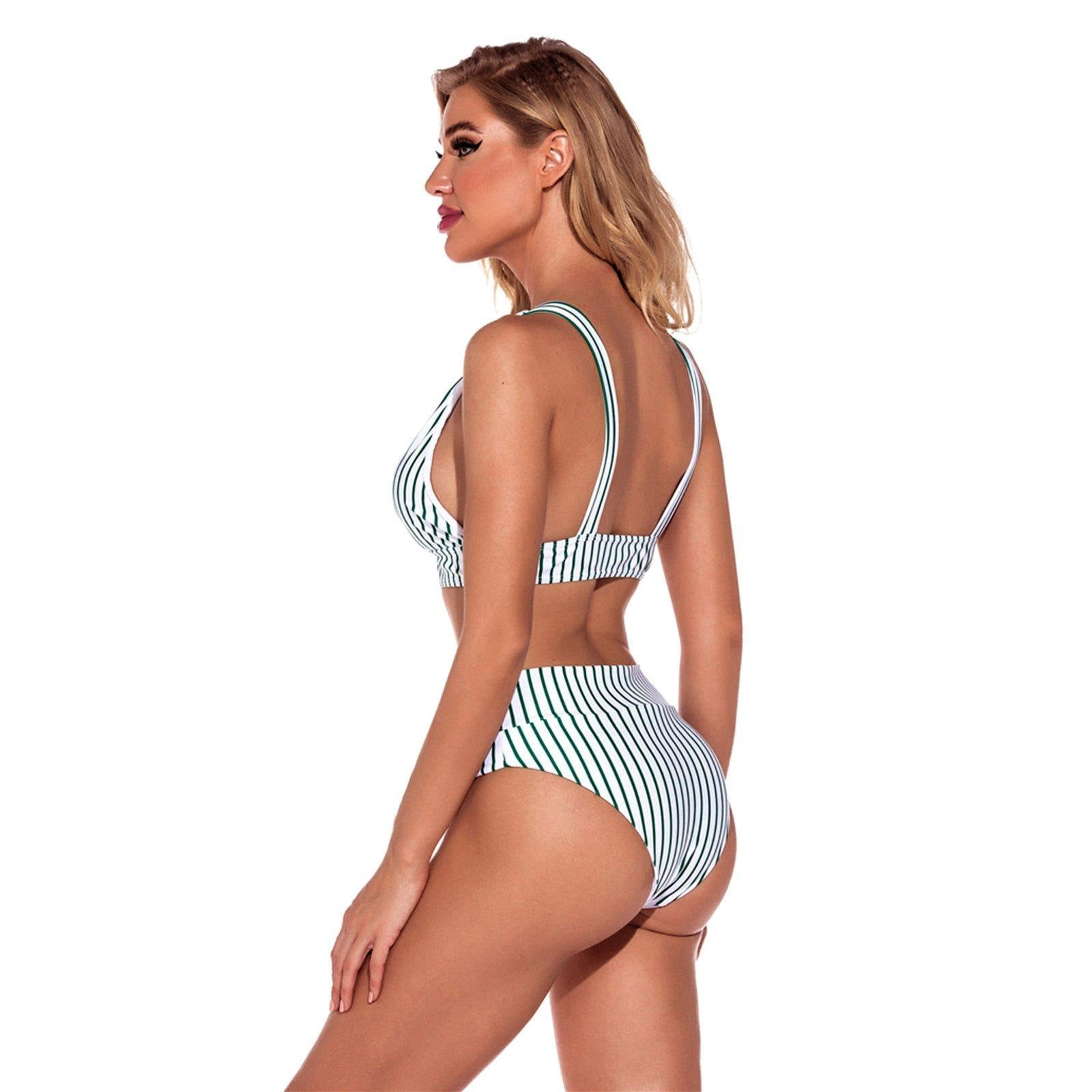 2 -Piece Striped Bathing Suit - fashionenvy