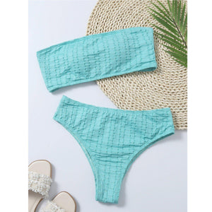 2 Piece Mid Waist Push Up Bathing Suit - fashionenvy