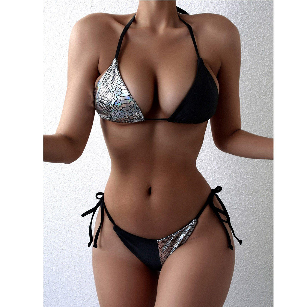 2 Piece Patchwork Thong Bathing Suit - fashionenvy