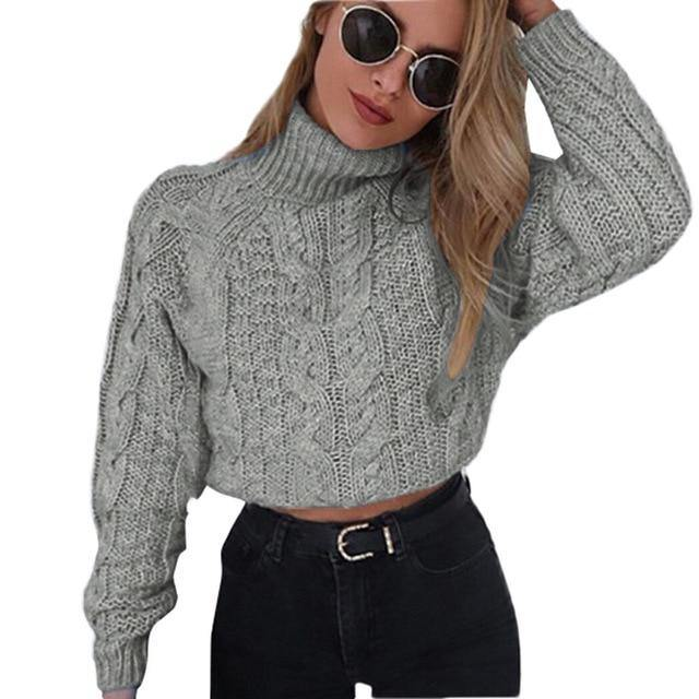 High Collar Knitted Pullover Sweater - fashionenvy