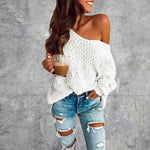 Load image into Gallery viewer, Long Sleeve Casual Off The Shoulder Knitted Sweater - fashionenvy