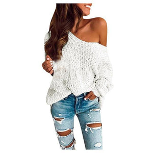 Long Sleeve Casual Off The Shoulder Knitted Sweater - fashionenvy