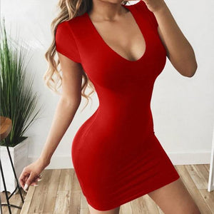 Women's Short Sleeve V-Neck Mini Dress - fashionenvy