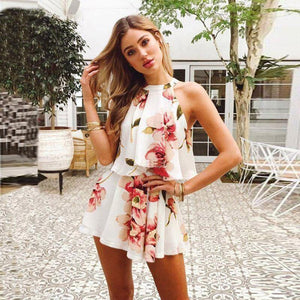 Women's Off The Shoulder Floral Print 2 Piece Set - fashionenvy