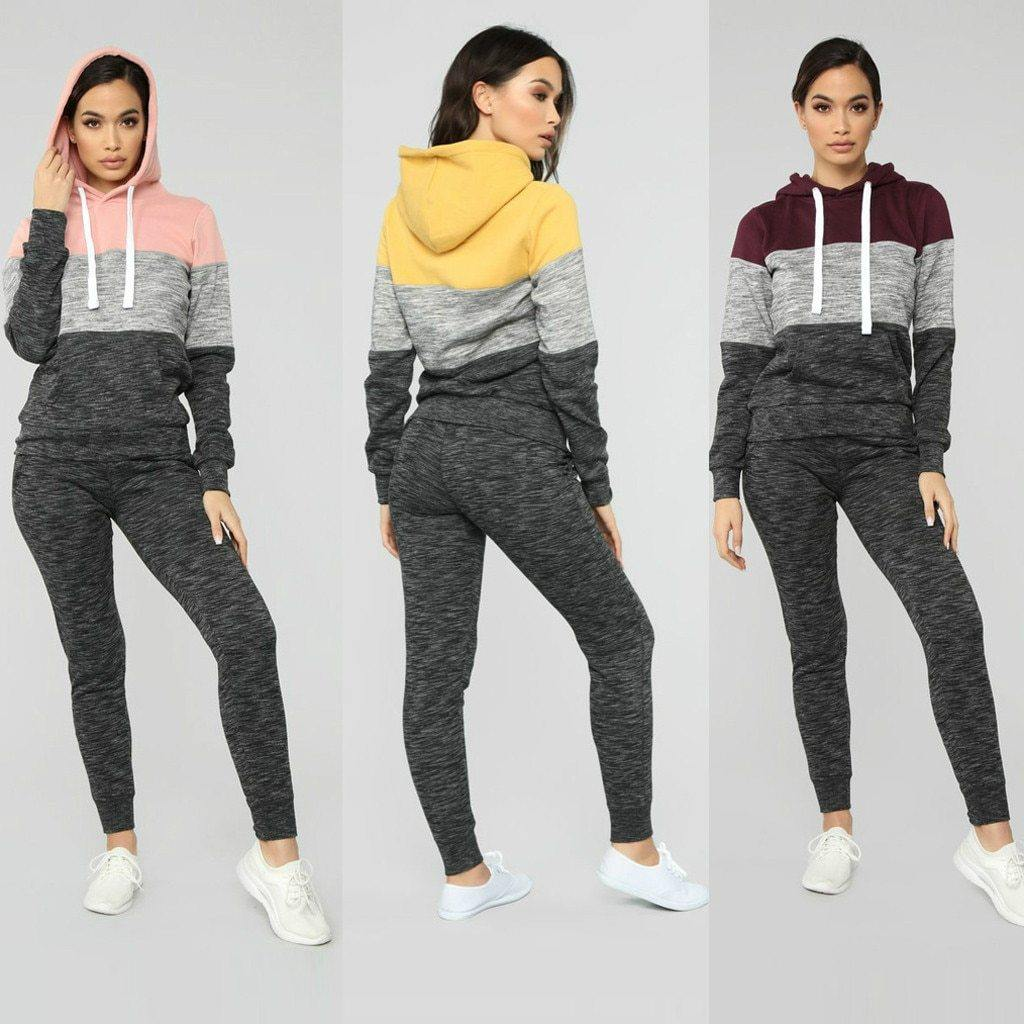 2 Piece Long Sleeve Hooded Tracksuit - fashionenvy