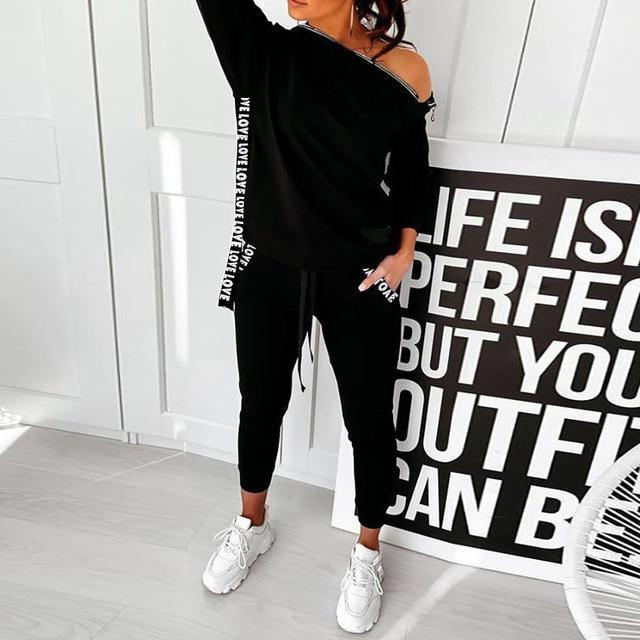 Women's Long Sleeve Printed Tracksuit - fashionenvy
