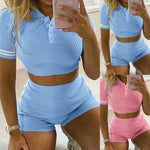 Load image into Gallery viewer, Women's Casual Crewneck 2 Piece Short Set - fashionenvy