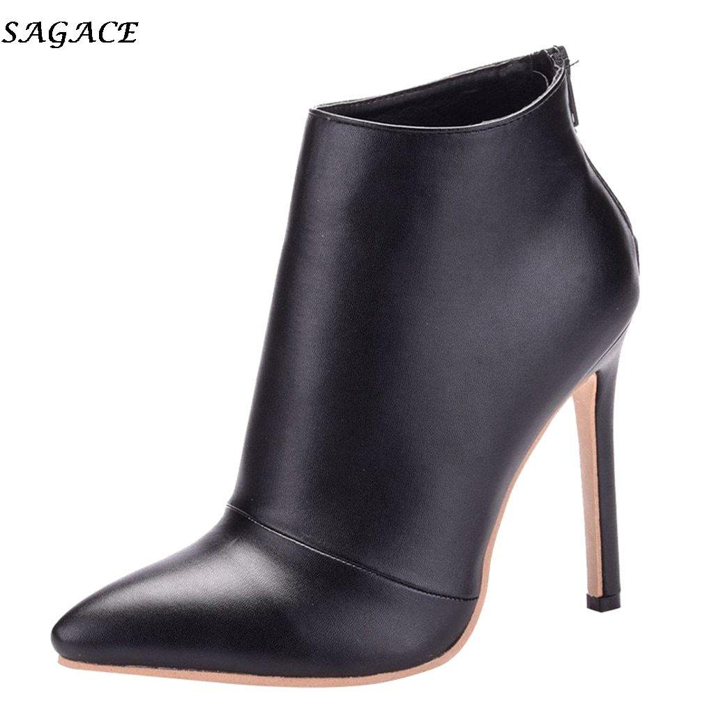 Zipper Pointed Toe High Heel Boots - fashionenvy