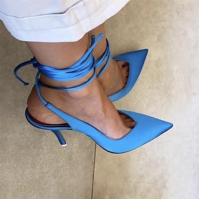 Pointed Toe Cross Tied Ankle Strap High Heels - fashionenvy