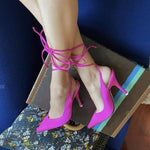 Load image into Gallery viewer, Pointed Toe Cross Tied Ankle Strap High Heels - fashionenvy